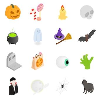 Icone isometriche di halloween 3d impostate