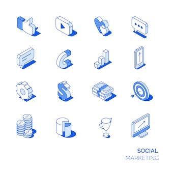 Icone isometriche di marketing sociale