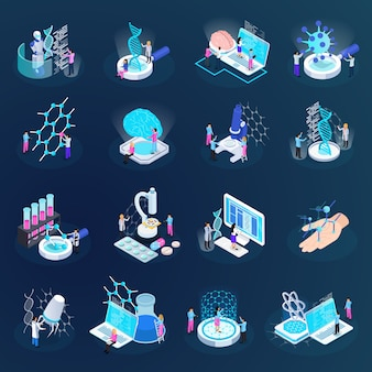Icone isometriche di nano tecnologia