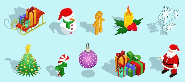 Icone isometriche di natale messe con i regali della palla della caramella dell'albero di abete dei fiocchi di neve della candela dell'uomo di pan di zenzero del pupazzo di neve della slitta babbo natale isolato
