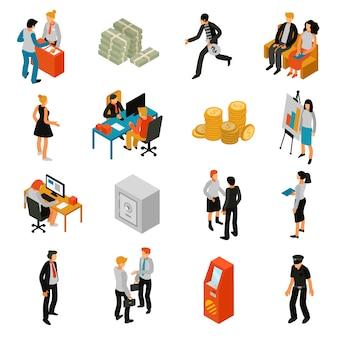 Icone isometriche di persone di banca