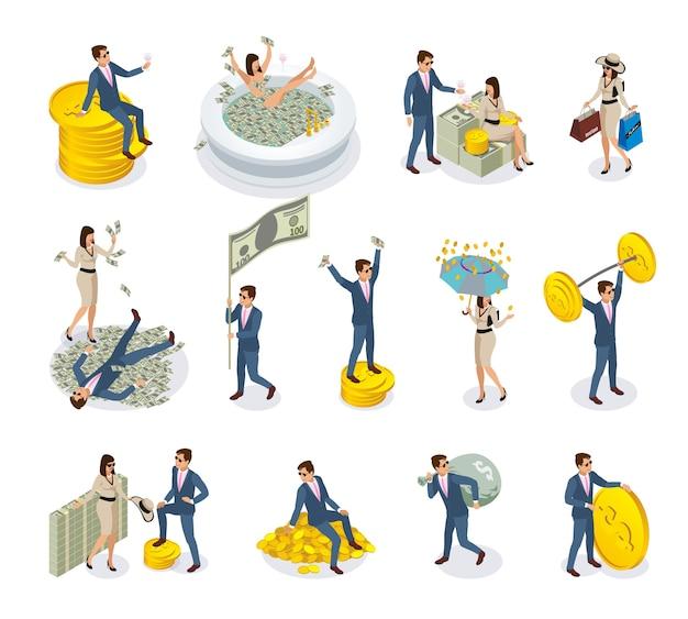 Icone isometriche di persone ricche