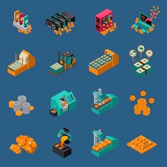 Icone isometriche di produzione di denaro