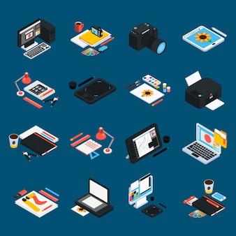 Icone isometriche di progettazione grafica