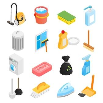 Icone isometriche di pulizia 3d impostate