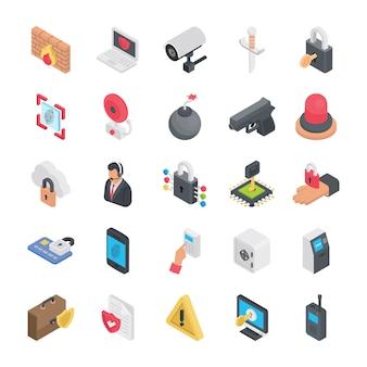 Icone isometriche di sicurezza