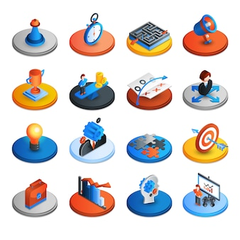 Icone isometriche di strategia aziendale