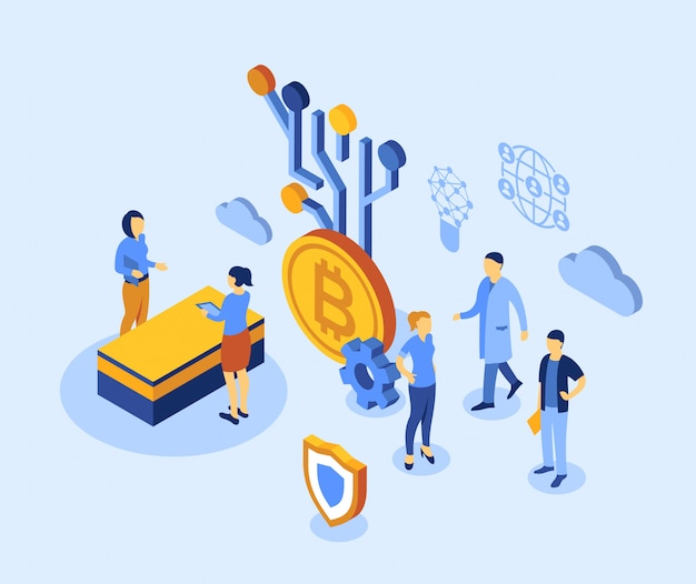 Icone isometriche di tecnologia bitcoin di criptovaluta