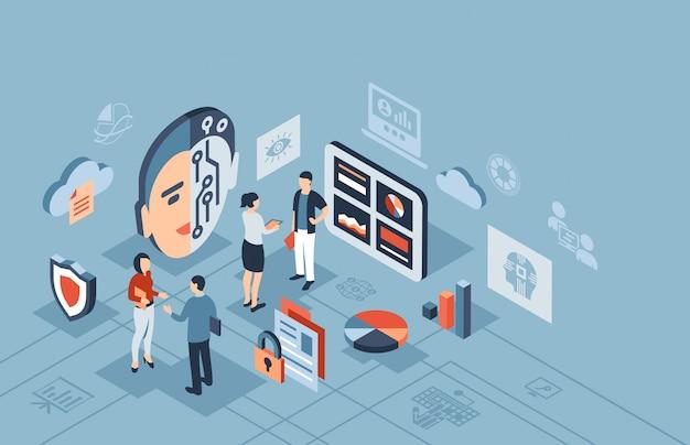 Icone isometriche di tecnologia di intelligenza artificiale