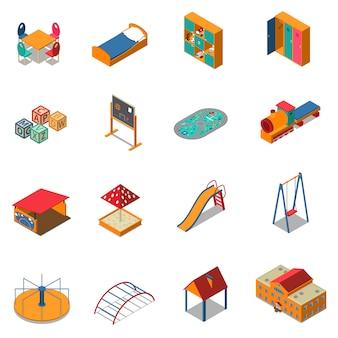 Icone isometriche di terreno di gioco asilo nido
