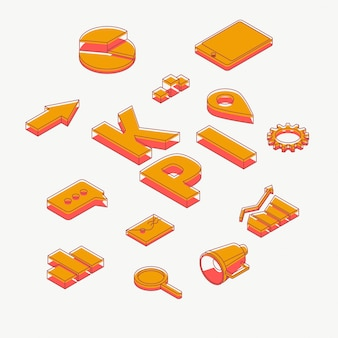 Icone isometriche di vettore degli indicatori chiave di prestazione