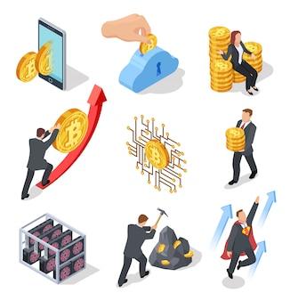 Icone isometriche ico e blockchain. bitcoin mining e scambio di criptovaluta. 3d isolato su simboli bianchi