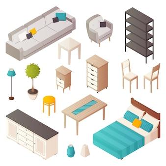 Icone isometriche isolate della mobilia domestica messe