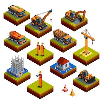 Icone isometriche isolate di costruzione