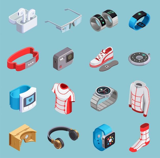 Icone isometriche tecnologia indossabile