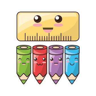 Icone kawaii strumenti scolastici per studiare l'educazione