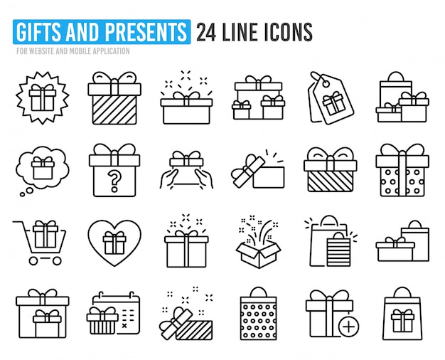 Icone linea regalo. presente, offerta e vendita.