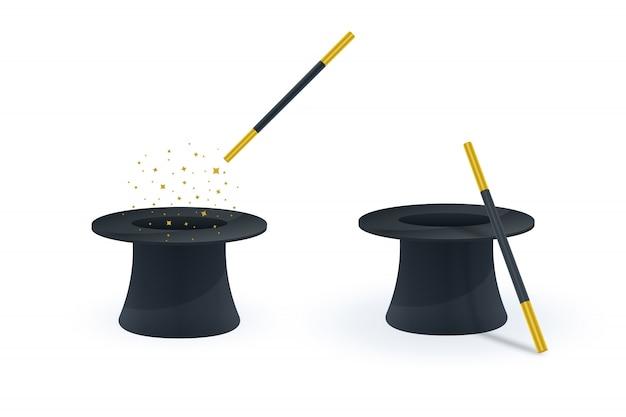 Icone magiche di bacchetta e cappello