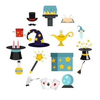 Icone magiche impostate in stile piatto