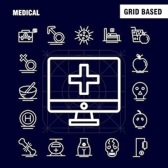 Icone mediche linea impostata per infografica