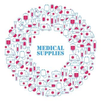 Icone mediche nella composizione rotonda nella struttura, illustrazione. simboli di pronto soccorso, cure ospedaliere, assistenza sanitaria. forniture per farmacia, vetreria di laboratorio