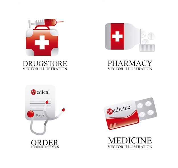 Icone mediche sopra illustrazione vettoriale sfondo bianco