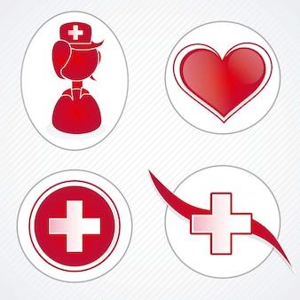 Icone mediche sopra l'illustrazione bianca di vettore del fondo