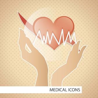 Icone mediche sopra l'illustrazione marrone di vettore del fondo