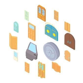 Icone messe nello stile isometrico 3d. impostare l'illustrazione della raccolta