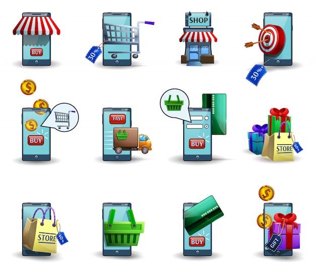 Icone mobili m-commerce 3d di commercio messe