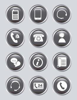 Icone mobili sopra illustrazione vettoriale sfondo grigio