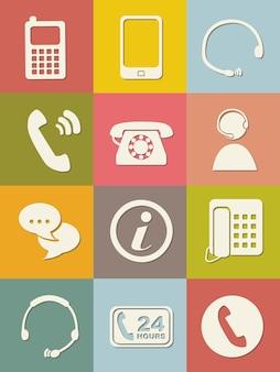 Icone mobili sopra illustrazione vettoriale sfondo vintage