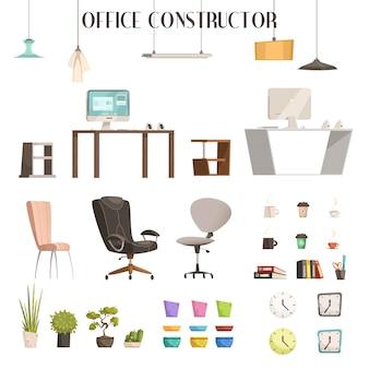 Icone moderne di stile del fumetto e degli accessori interni per rinnovamento d'ufficio alla moda