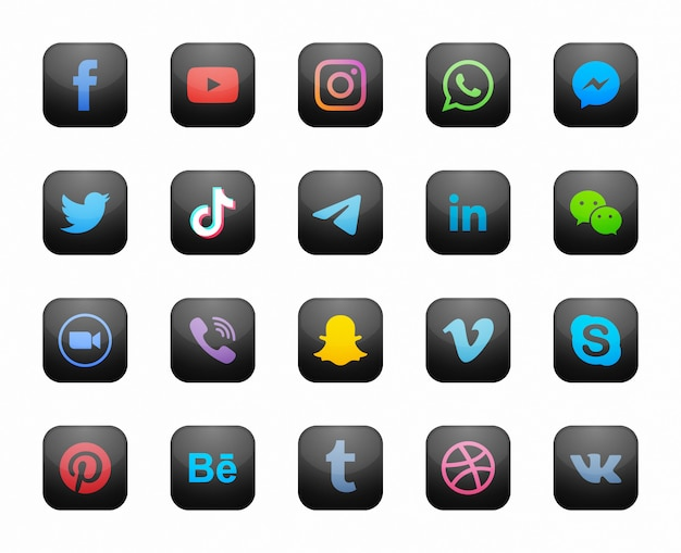 Icone moderne nere quadrate sociali di media messe