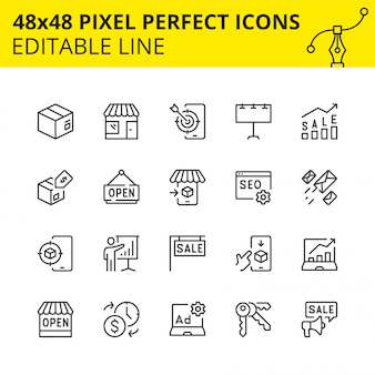 Icone modificabili per marketplace e negozi al dettaglio