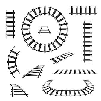 Icone nere dei binari ferroviari diritti e curvi