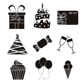 Icone nere di compleanno sopra l'illustrazione bianca di vettore del fondo
