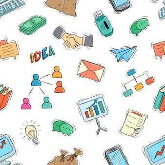 Icone o elementi di affari nel modello senza cuciture con stile doodle