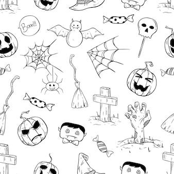 Icone o elementi in bianco e nero di halloween nel modello senza cuciture con stile disegnato a mano