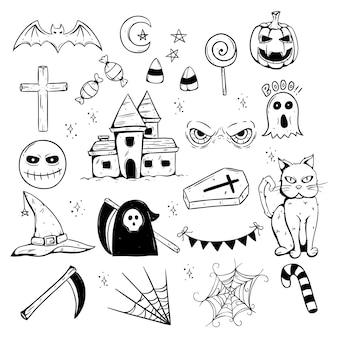 Icone o elementi spaventosi disegnati a mano di halloween