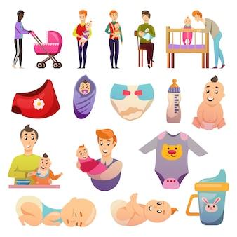 Icone ortogonali di congedo parentale dei padri