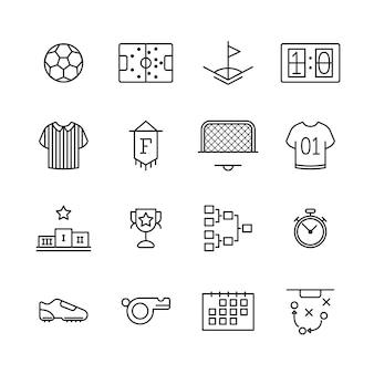 Icone per il tema dello sport su bianco