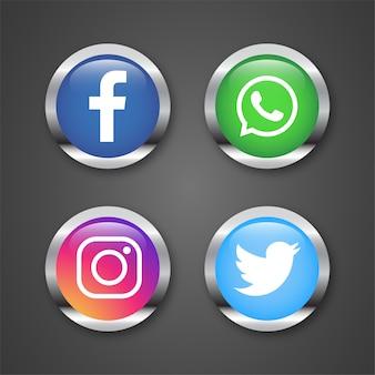 Icone per l'illustrazione di reti sociali