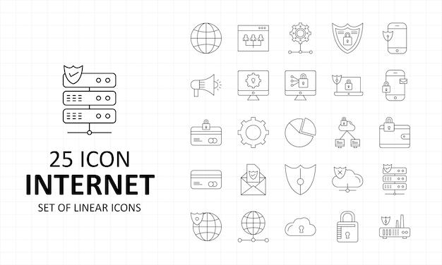 Icone perfette del pixel dello strato dell'icona di internet