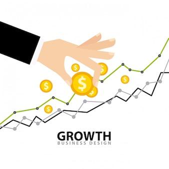 Icone piane dei fondi di crescita aziendale