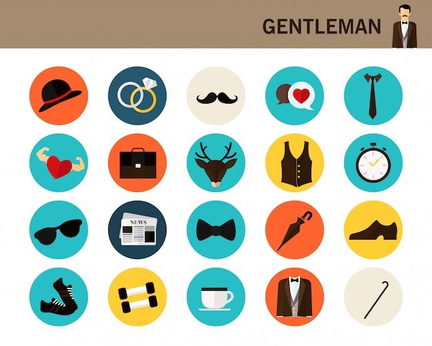 Icone piane del concetto di gentiluomo.