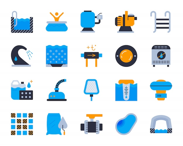 Icone piane dell'attrezzatura della piscina messe, costruzione, riparazione, piscina di pulizia.
