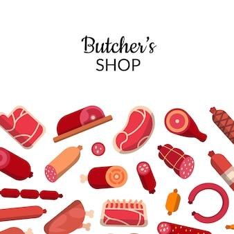 Icone piane della carne e delle salsiccie con l'illustrazione del copyspace