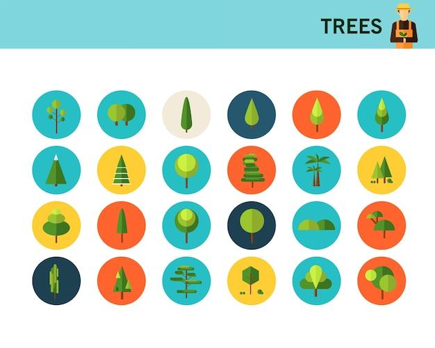 Icone piane di alberi concetto.