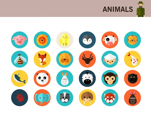 Icone piane di animali concetto.